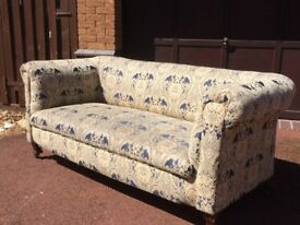 Antique Blue and Gold Drop-arm Sofa