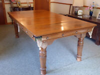 Antique Oak snooker table with oak dining top - slate bed - 7.5 x 4 feet