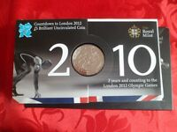 countdown to london 2010 2 years and counting 2012 £5 brillant unciculated coin