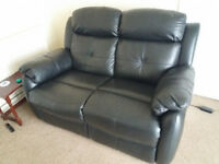 Leather sofa, settee, reclining, 2 seater