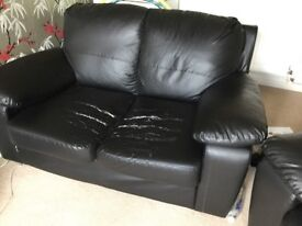 2x black leather sofas: free, but must be collected