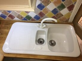 porcelain 1.5 bowl sink with drainer with tap