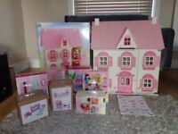 Beautiful Wooden ELC Rosebud cottage Dolls house plus extras boxed christmas??