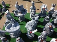 Garden Ornament frost proof cats dogs buddhas skulls rabbits hedgehog monkey gnomes penguin memorial