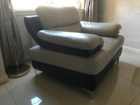 3 Seater Leather Sofa, Armchair, Chair and Footstool