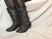 Soft leather black calf boots with buckle UK size 6