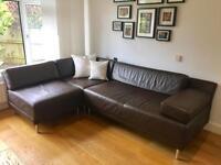 Habitat chocolate brown leather sofa