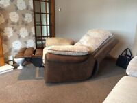 Reclining Sofa, Armchair with matching foot stool