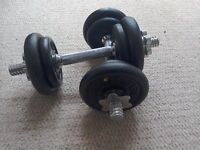 Two York Barbell dumbell weights