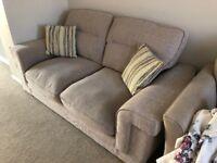 Oak Furniture Land Barley Beige 2-seater sofa with matching cushions.