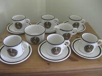 Wedgwood 'Mikado' 6 cups and saucers, milk jug, sugar basin