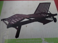 2 x Barmoral hard wood sunbeds 5 position back rest Pull out drinks tray.