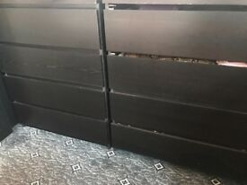Strong black chest of drawers