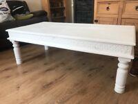 Matt white coffee table solid heavy wood!