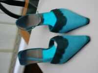 Turquoise heeled shoes, Size 7, Good Condition