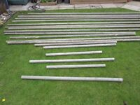 Scaffold poles. Aluminium scaffold poles- various lengths with fittings. For sale as a job lot.