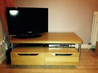 Wooden table and storage units