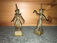 A Pair of Vintage brass Asian Dancers Figurines