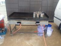 STEEL FLAT GAS GRIDDLE, CUSTOM BUILT FOR COOKING LARGE QUANTITIES