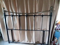 Sturdy Powdered black steel bed stead head with brass knobs