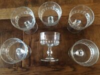 ATTRACTIVE GLASS TABLEWARE : 6 SUNDAE DISHES : 5 Traditional Cut Glass WINE GLASSES : £2.50 - £4.00