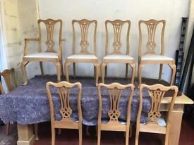 Very large solid wood dining table and 8 chairs