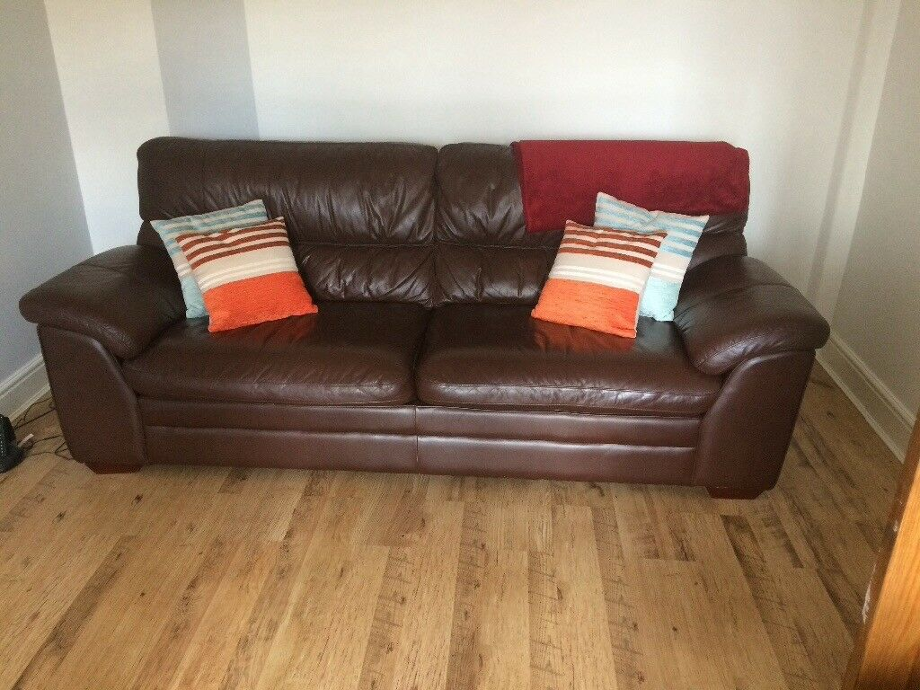3 And 2 Seater Leather Sofas Originally 3200 From Furniture Village Throws