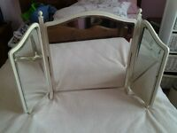 LARGE TRIPLE DRESSING TABLE BEVILLED MIRROR IN CREAM ONLY SELLING AS MOVED