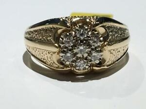 #1494 14K YELLOW GOLD MENS DIAMOND CLUSTER RING 0.30CT TOTAL DIAMOND *SIZE 9 3/4* JUST BACK FROM APPRAISAL AT $3100.00!