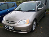 HONDA CIVIC 1.7 COUPE NEW MOT GREAT SPECIFICATION ONLY £1395
