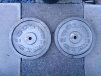 2 x 20kg golds gym metal weight plates