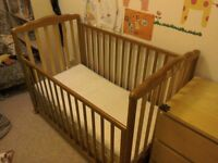 Wooden baby cot bed crib