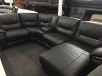 New/Ex Display Reid Hedgemoore Recliner Group Sofa With + Chaise + Media Tray Armrest
