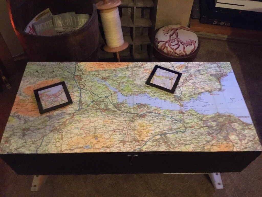 Coffee table upcycled wooden tool box with map Edinburgh 2 coasters matching