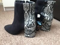 Brand new black suede ankle boots with snake print detail size 4