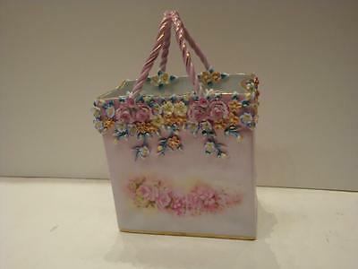 RARE MAGNIFICENT LRG PAINTED PORCELAIN DRESDEN EUROPEAN CENTERPIECE BASKET BAG!