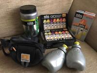 SIS variety gel bundle, half used SIS electorlyte tub and brand new Nathan hydration belt