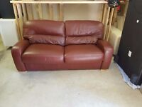SOFA BED IN BROWN LEATHER