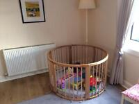 Large toddler wooden play pen fabric base