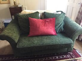 2 green Parker knoll sofas. £50 each, buyer collects, red cushions and blankets not included.