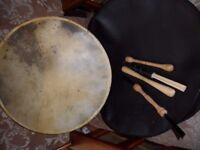 hand drum, bodhran, shamen meditation beats and tippers/beaters