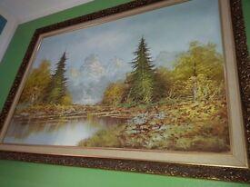 Hi for sale Vintage Beautiful big oil peinting in gold freme but freme is no good!Can deliver!