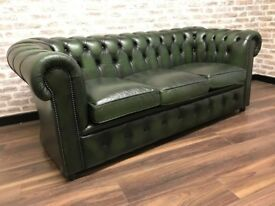 3 Seat Antique Green Chesterfield Club Sofa