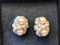 Stunning and intricate Pearl and diamond clip on earrings - perfect present for mothers Day £15