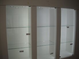 white shop display cabinets