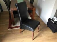 Quality Dining table with 4 leather chairs