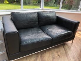 2 seater black leather settee £10