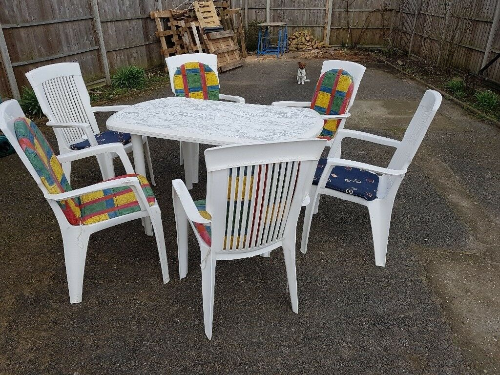 white plastic patio table and chairs. White Plastic Patio Table And 6 Chairs