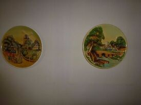 2 Vintage plaster 3d wall plates/plaques
