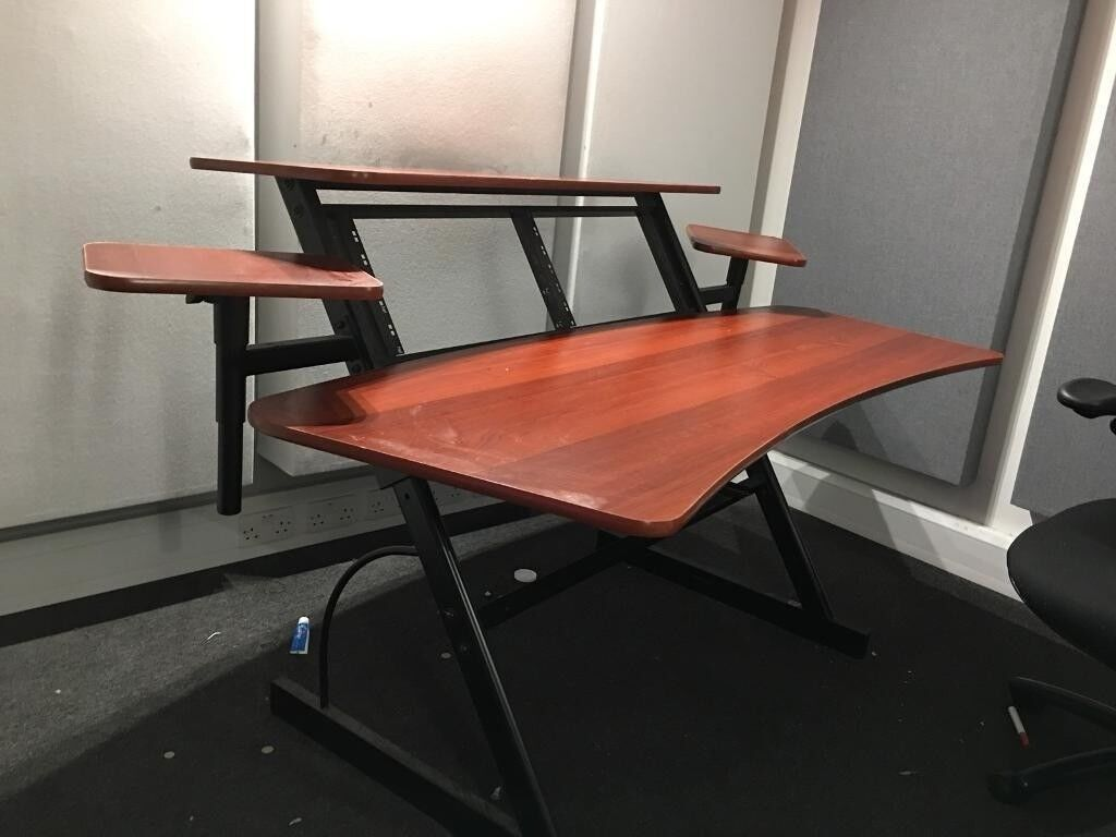 Studio Workstation Desk With Rack Space And Monitor Stands In